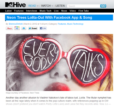 mtv Neon Trees Facebook App Coverage on MTV Hive