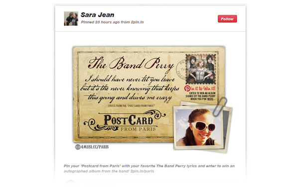 example The Band Perry Pinterest Application In Action