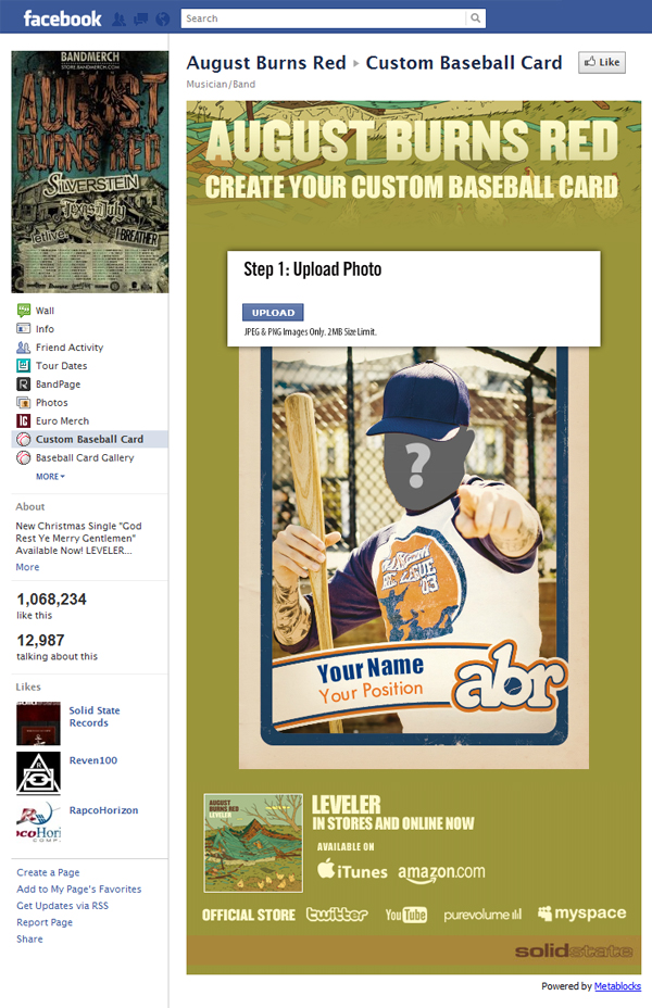 600 abr Application Spotlight: August Burns Red   Custom Baseball Card
