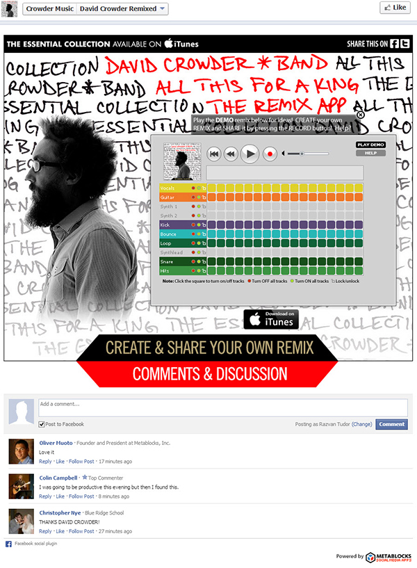 600 crowder fb1 Application Spotlight: David Crowder Remix App