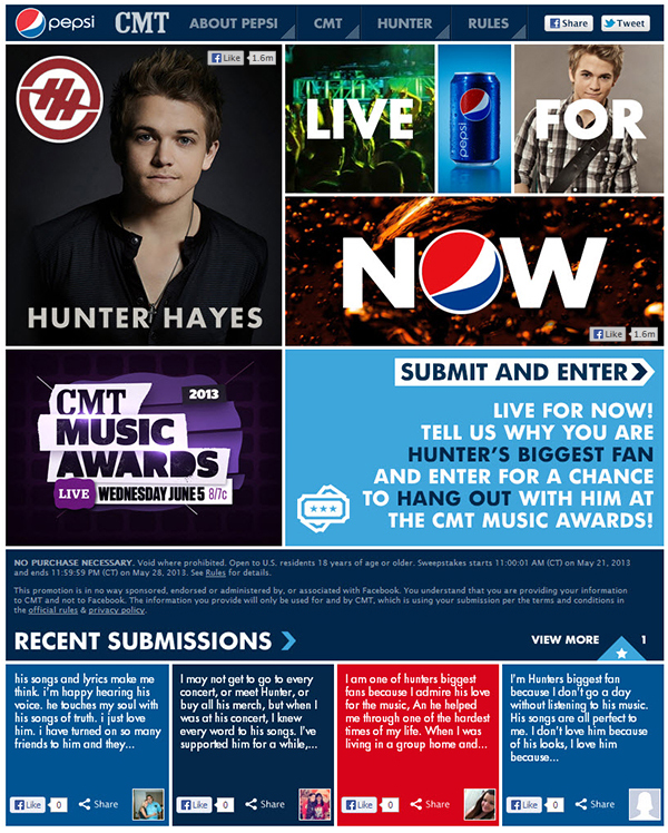 600 pepsi cmt 2b Application Spotlight: Pepsi + Hunter Hayes + CMT