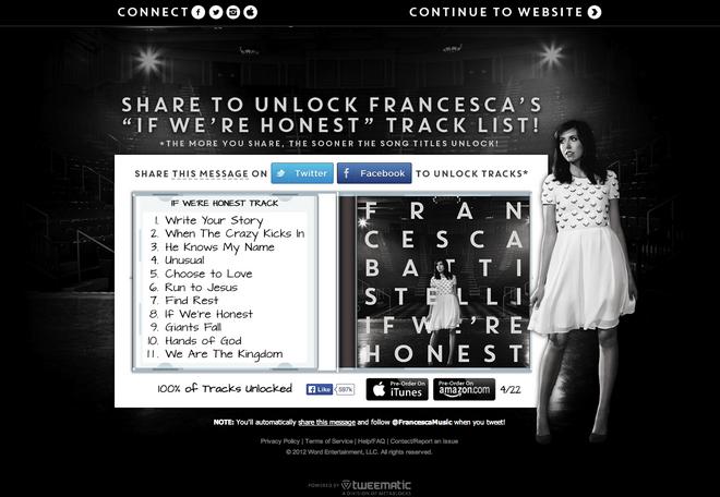 Application Spotlight: Francesca Battistelli Track List ...