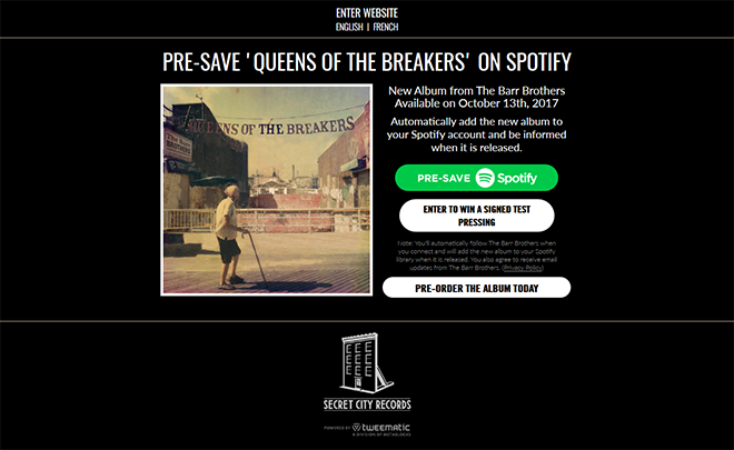 The Barr Brothers Presave to Spotify Campaign