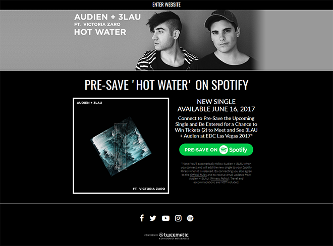 3LAU + Audien – 'Hotwater' Presave to Spotify Campaign