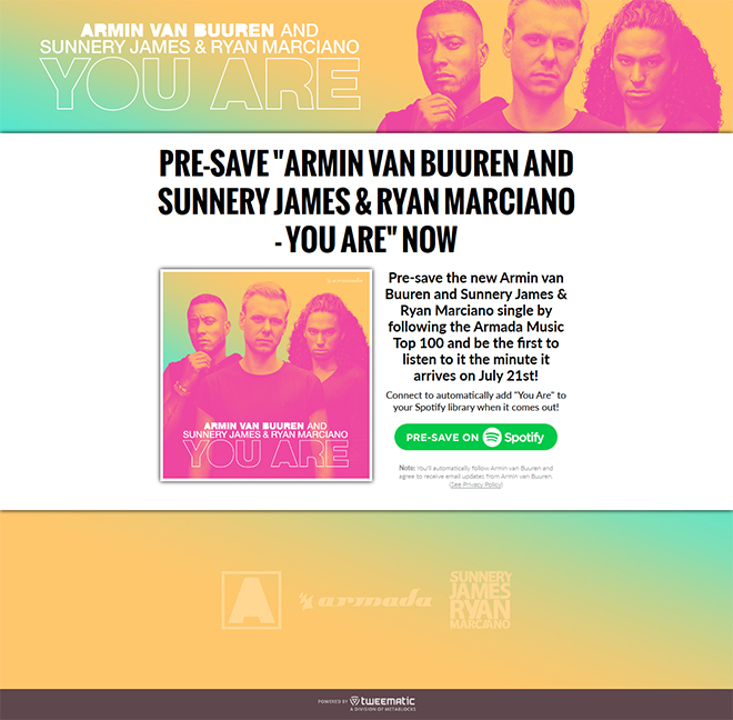 Armin van Buuren feat. Sunnery James & Ryan Marciano – You Are Presave to Spotify Campaign