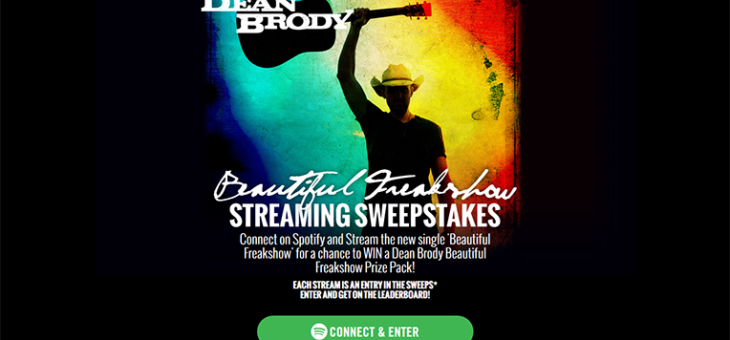 Dean Brody Spotify Streaming Sweeps