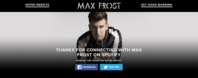Max Frost Spotify Sweepstakes Campaign – Metablocks
